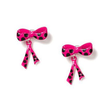 Polka dot bow front and back earrings from claire 39 s for Jewelry stores in eau claire wi