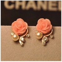 Bohemia Style Rhinestone Rose Earrings