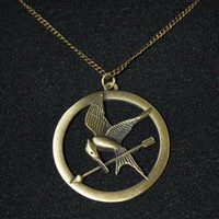 The Hunger Games Pendant Necklace Mockingjay and Arrow Gyroscope