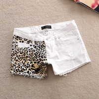 Sexy Womens Leopard Summers White Denim Shorts