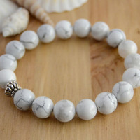 Beaded stretch bracelet. White bracelet. Howlite bead jewelry
