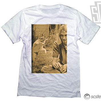 Kurt Cobain Kitty Cat Tee Shirt 070