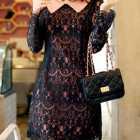 Peter Pan Collar Lace Dress - OASAP.com