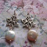 Silver Lotus and Coin Pearl Earrings on Sterling | HopesandDreamsStudio - Jewelry on ArtFire