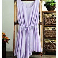 Chiffon Dress with Uneven Brim