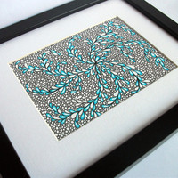 Original Abstract Drawing Zentangle Inspired Art Blue by JoArtyJo