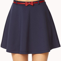 Scuba Knit Skater Skirt w/Belt | FOREVER 21 - 2075446195