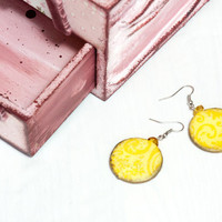Decoupage Earrings Citrine Earrings Arabesque by BeauMiracle