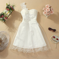 Womens Cute Bowknot Strapless Dress