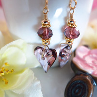 Antique rose Swarovski crystal heart earrings with purple rondelle crystal