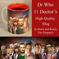 DR WHO THE 11 DOCTORS SOUVENIR DESIGNER MUG CUP HIGH QUALITY (UN SIGNED) DISHWASHER SAFE - DOCTOR WHO - MATT SMITH , DAVID TENNANT , PETER DAVISON , WILLIAM HARTNELL , TOM BAKER PLUS ALL THE OTHER DOCTORS .