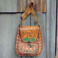 Vintage 60's Hippie Satchel, Sweet Leather Bags & Totes