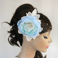Teal bridal hair flower handmade unique design by MammaMiaBridal