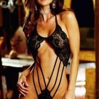 Black Sexy Strappy Stretch Lace Teddy with Thong Dreamgirl Women's Lingerie (3895)