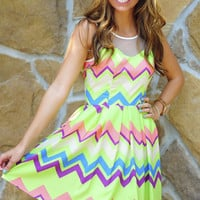 Bubble Gum Yum Chevron Dress: Multi | Hope's