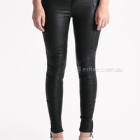 coated multi panel jeggings - black at Esther Boutique