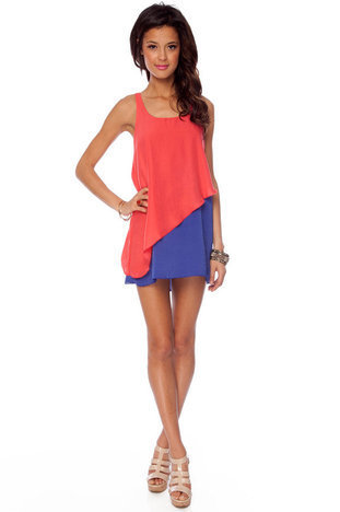 Double Dipped Tier Dress in Coral and Royal :: tobi
