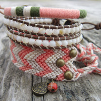 The Bohemian Bracelet Set In coral grey and by NoliePolieOlies