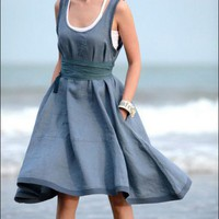 Grey Blue Cool Vest Dress-NC034 | StylishLife - Clothing on ArtFire