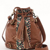 Black Poppy Floral Mixed Media Bucket Bag at PacSun.com