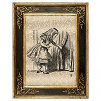 Alice in Wonderland Door Behind Curtain Vintage Book Page Art Print | DreameryStudio - Children's on ArtFire