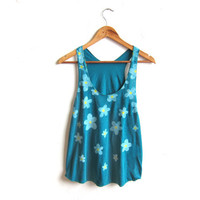 Daisy Shower - Racerback Hand Stenciled Slouchy Scoop Neck Womens Swing Tank Top in in Teal and White - XS S M L