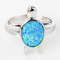 925 Sterling Silver Turtle Shaped Zircon Cocktail Ring at Online Jewelry Store Gofavor