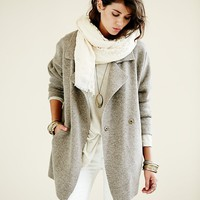 Free People Womens Slouchy Sweater Jacket - Light Grey, L