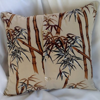 Bamboo Print Asian Look Pillow from Upcycled Shirt 18 Inch Square 18 X 18
