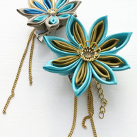 Steampunk Kanzashi Flower Fascinator Brooch Pin by cuttlefishlove