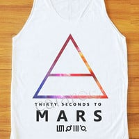 Galaxy 30 Seconds to Mars Shirt Alternative Rock Shirt Women Tank Top Women Shirt Unisex Shirt Vest Top Sleeveless Singlet White Shirt S,M,L