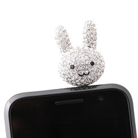 Bling Bling bunny dustcap for iphone stereo jack by bythecoco