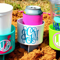 Set of 10 Monogram Beach Spike Beverage Holder