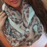 Mint + Khaki Leopard Scarf | The Rage