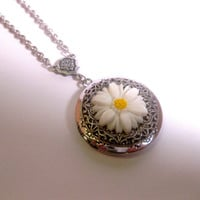 Daisy Flower Locket Pendant Necklace