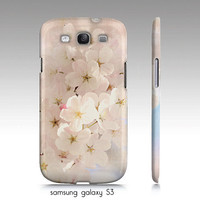 """iphone 4, 5  Samsung Galaxy S3, S4 case """"Spring has begun"""", white/pink cherry blossoms, floral photography, pastel phone case"""