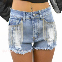 Armed and Dangerous Demin Chain Detail Shorts