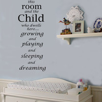 Bless This Room and the Child  Nursery Vinyl Wall lettering Sayings Decal
