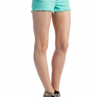 frayed denim shorts $29.40 in MINT PEACH WHITE YELLOW - Seafoam Green | GoJane.com