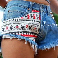 Aztec tribal shorts, Levis High waisted tribal aztec Denim shorts, Tribal aztec jeans shorts by Jeansonly