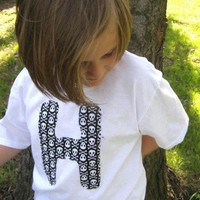 personalized Punk SKULL Shirt with your kids Letter or Number | PoppysWickedGarden - Clothing on ArtFire