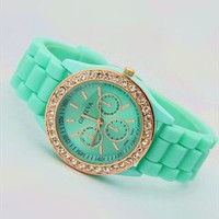 Mint Color Silicone Watch HGZ002 from topsales