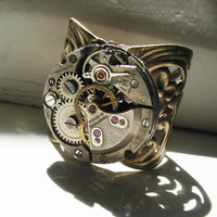 Steampunk Round Vintage Watchworks Ring by steamheat on Etsy