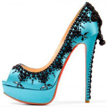 Christian Louboutin Torerro orange embellished peep-toe pump