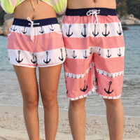 Summer Anchor Pattern Beach Shorts for Couples