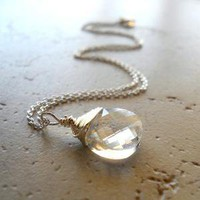 Bella Luna Necklace Sterling Silver Wire Wrapped by waterwaif