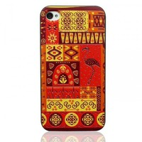 Generic Ancestral Maya Totem Embossment Case For iPhone 4/4S Color Red