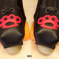 Pick your colour Black leather Roller Derby skate toe guards with Brass Knuckles
