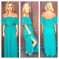 Emerald Eyelet Double Slit Maxi Dress