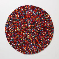 Felt Pixel Rug, Round-Anthropologie.com
